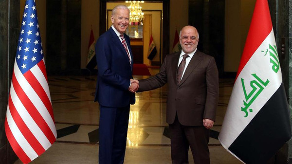 "A handout picture released by the Iraqi Prime Minister Haider al-Abadi's office on April 28, 2016 shows him (R) shaking hands with US Vice President Joe Biden following a meeting in Baghdad. Biden arrived in Baghdad for an unannounced visit to Iraq, whose leadership is bogged down in a protracted political crisis even as its forces battle jihadists. ""The vice president has arrived in Iraq for meetings with (the) Iraqi leadership focused on encouraging Iraqi national unity and continued momentum in the fight against ISIL,"" a statement from Biden's office said, using an acronym for the Islamic State jihadist group. / AFP PHOTO / IRAQI PRIME MINISTER'S OFFICE / Handout / === RESTRICTED TO EDITORIAL USE - MANDATORY CREDIT ""AFP PHOTO / HO / IRAQI PRIME MINISTER'S OFFICE "" - NO MARKETING NO ADVERTISING CAMPAIGNS - DISTRIBUTED AS A SERVICE TO CLIENTS ==="